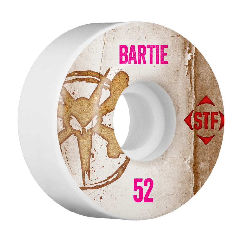 Bones STF Pro Bartie Vintage V3 Skateboard Wheels - White - 52mm (Set of 4)