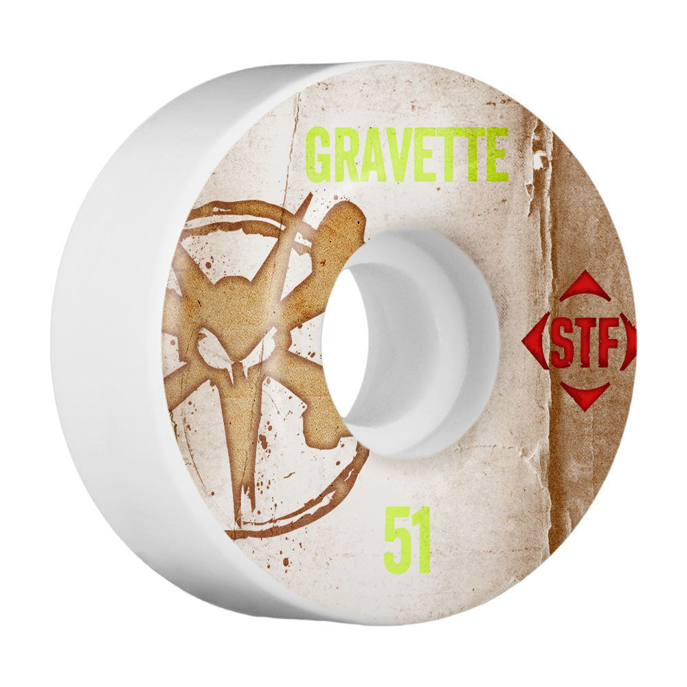 Bones STF Pro Gravette Vintage V2 Skateboard Wheels - White - 51mm (Set of 4)