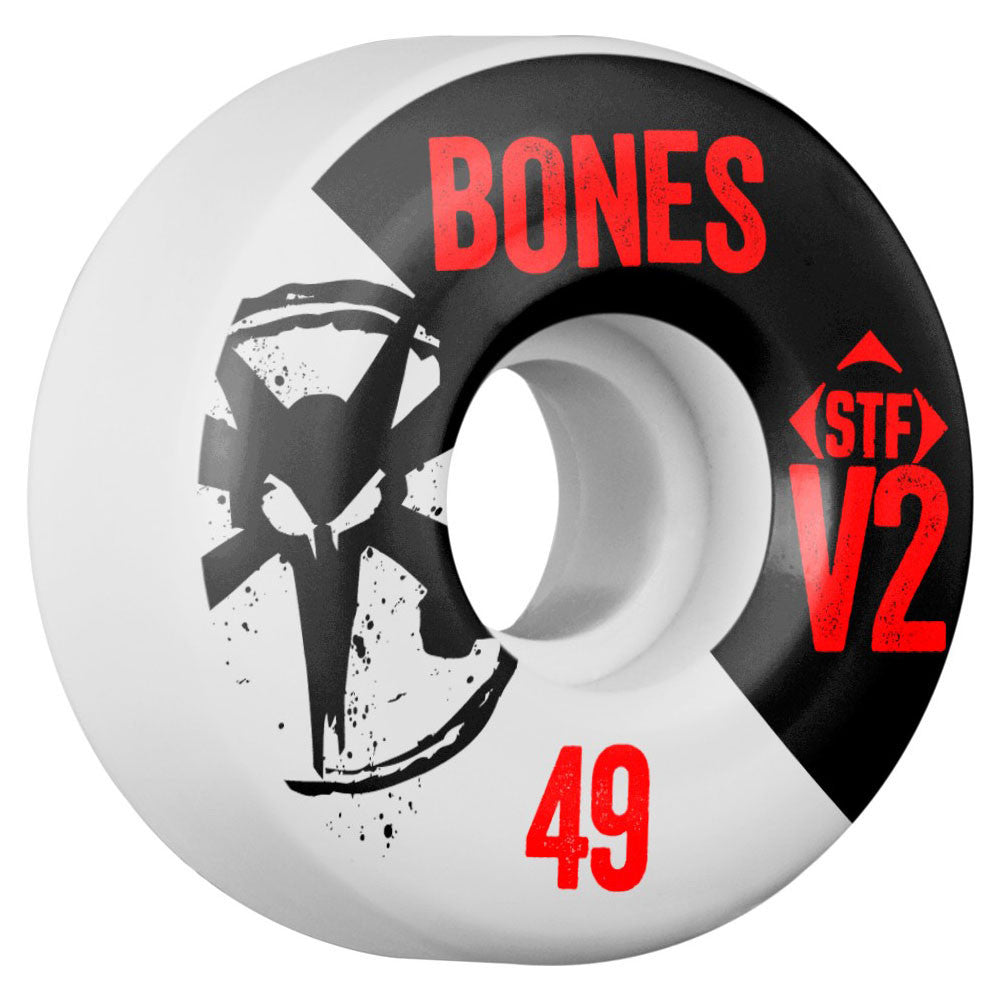 Bones STF V2 Series Skateboard Wheels - White - 49mm 83b (Set of 4)