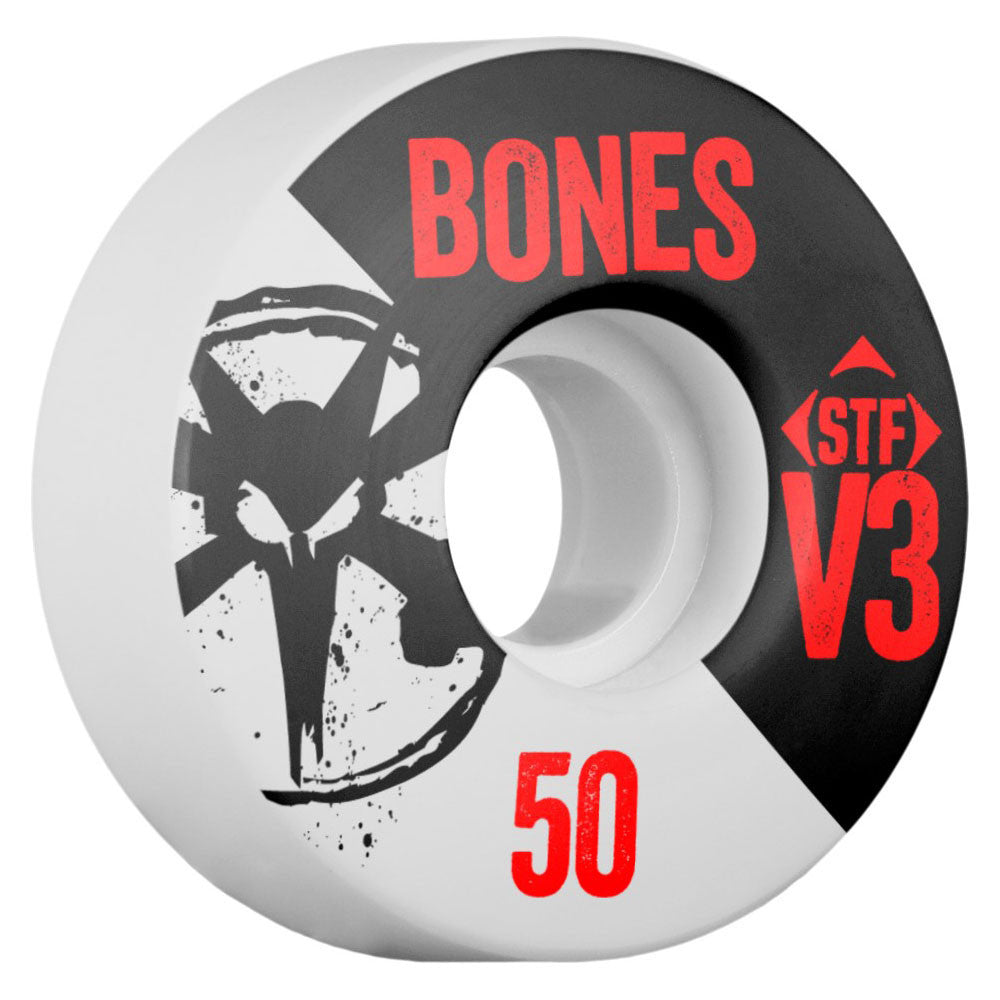 Bones STF V3 Series Skateboard Wheels - White - 50mm 83b (Set of 4)