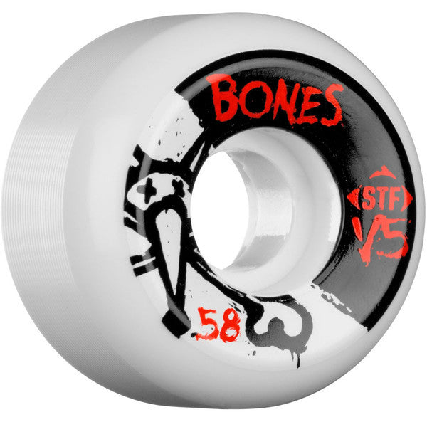 Bones STF V5 Series Skateboard Wheels - White - 58mm 83b (Set of 4)