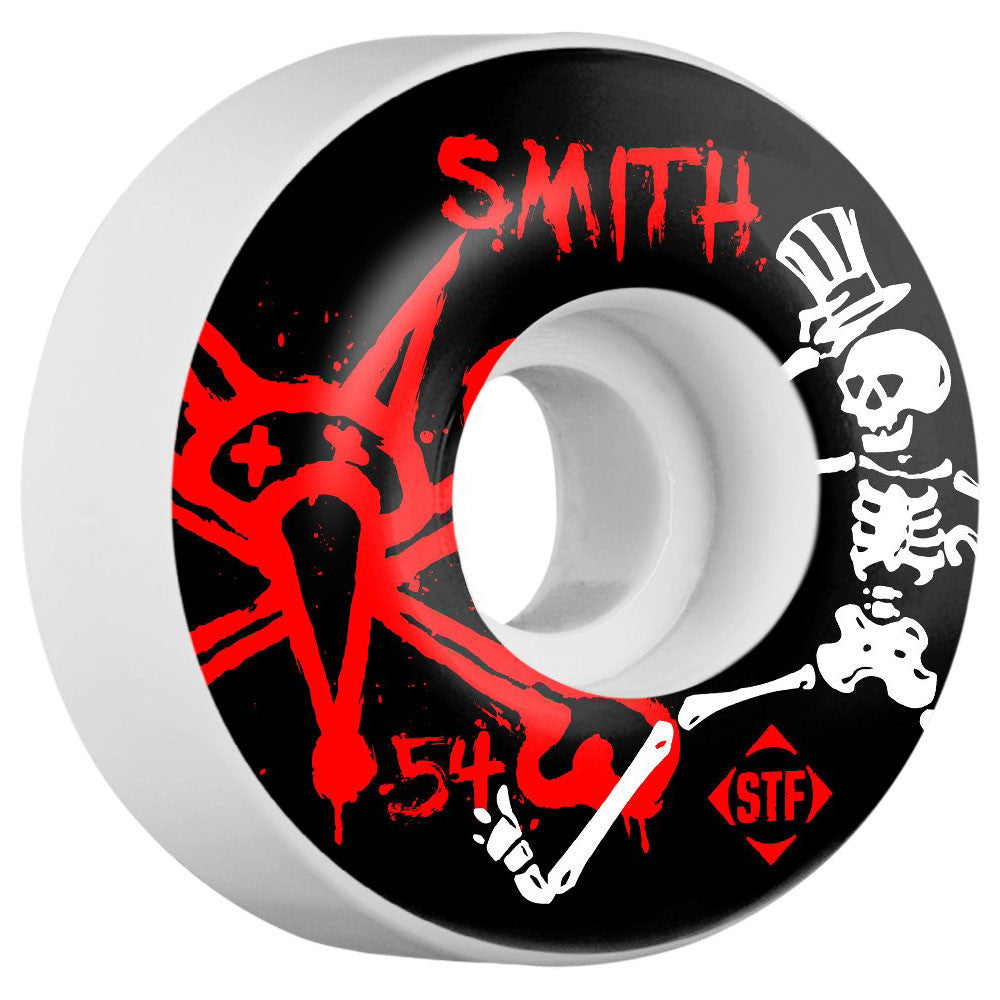 Bones STF Smith Social V1 Skateboard Wheels - White - 54mm (Set of 4)