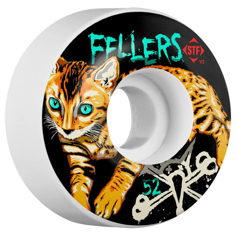 Bones STF Fellers Momo V3 Skateboard Wheels - White - 50mm (Set of 4)