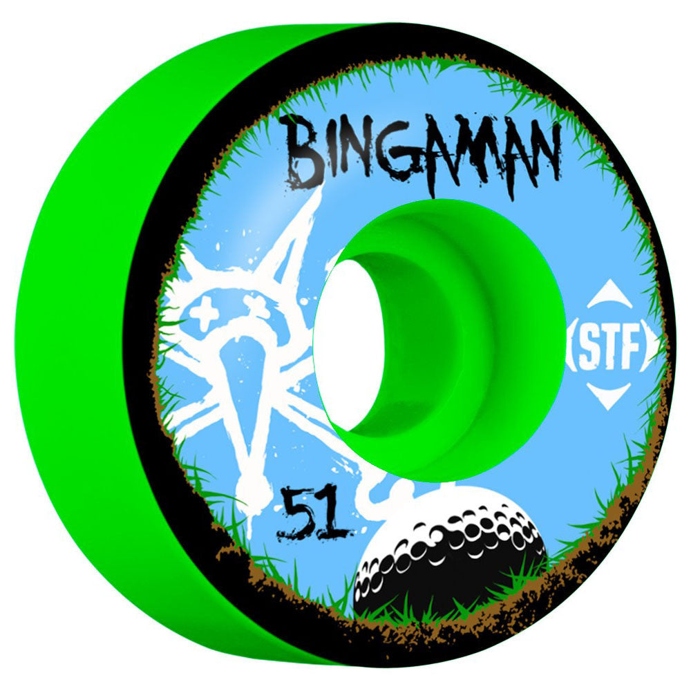 Bones STF Bingaman Bogey V2 Skateboard Wheels - Green - 51mm (Set of 4)