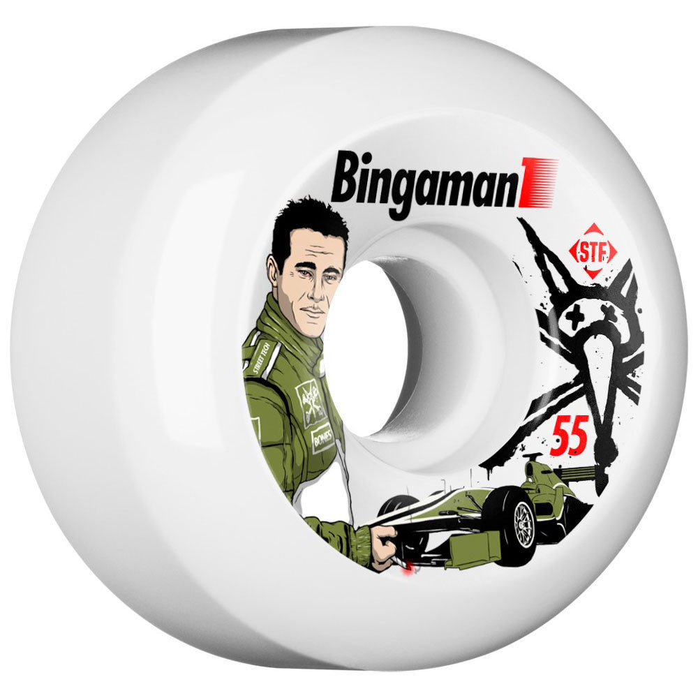 Bones STF Bingaman Formula V5 Skateboard Wheels - White - 55mm (Set of 4)