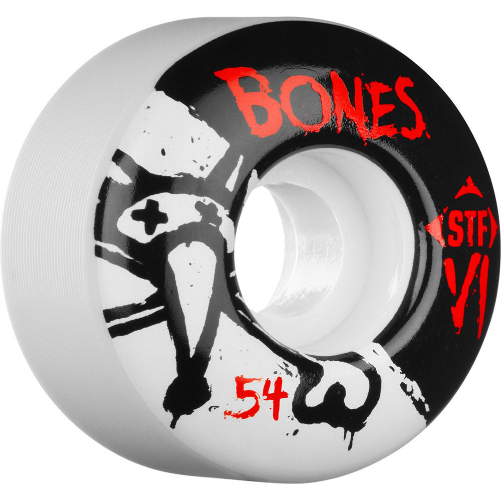 Bones STF V1 Series Skateboard Wheels - White - 54mm 83b (Set of 4)