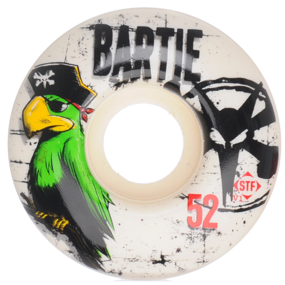 Bones Bartie Parrot STF V1 Series Skateboard Wheels - White - 52mm  (Set of 4)