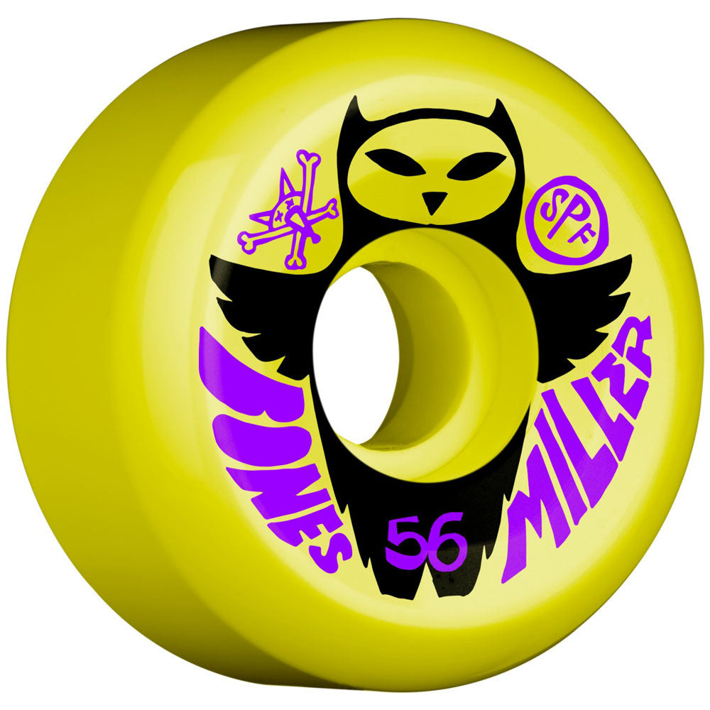 Bones Pro Miller Owl SPF Skateboard Wheels - Yellow - 56mm (Set of 4)