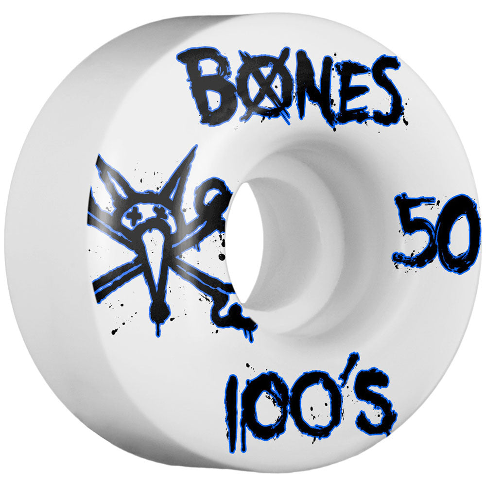 Bones 100's V1 Skateboard Wheels - White - 50mm (Set of 4)