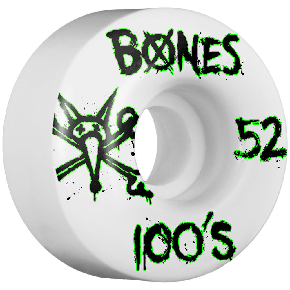 Bones 100's V1 Skateboard Wheels - White - 52mm (Set of 4)