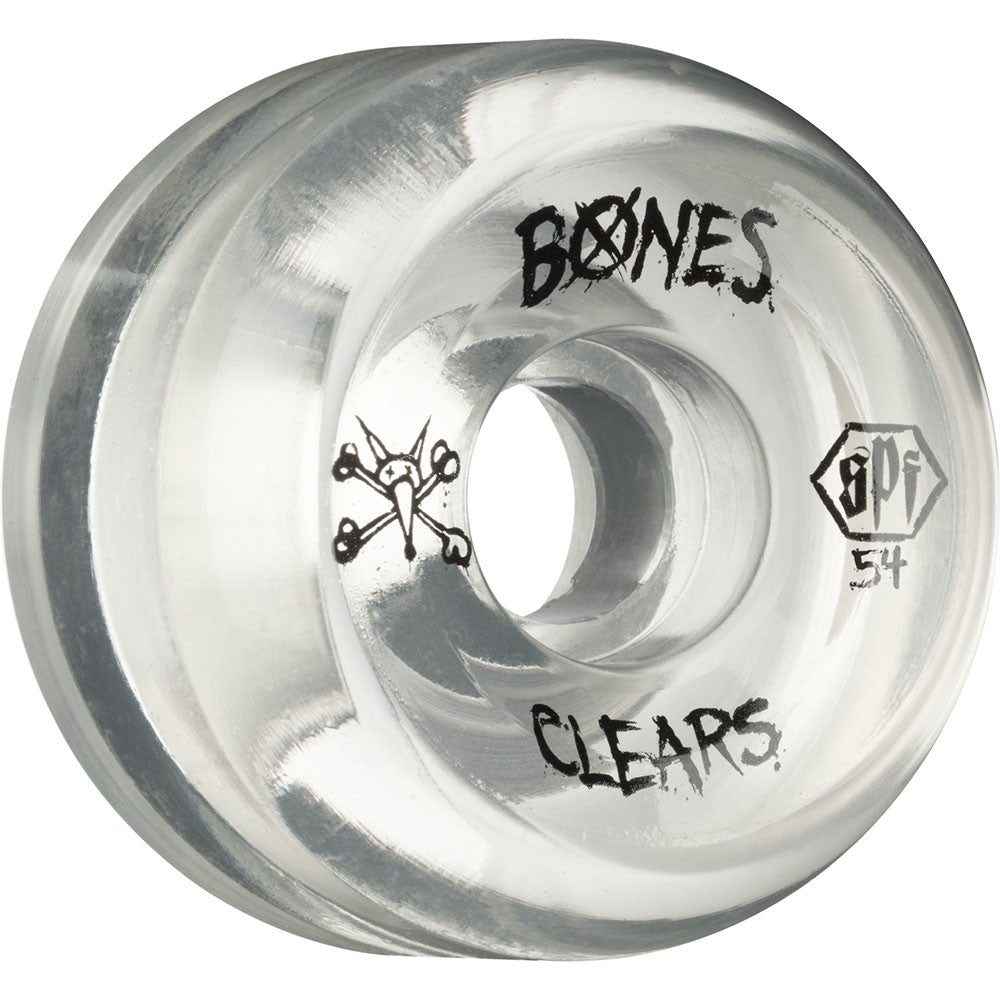 Bones Clears SPF Skateboard Wheels - Clear - 54mm 84b (Set of 4)