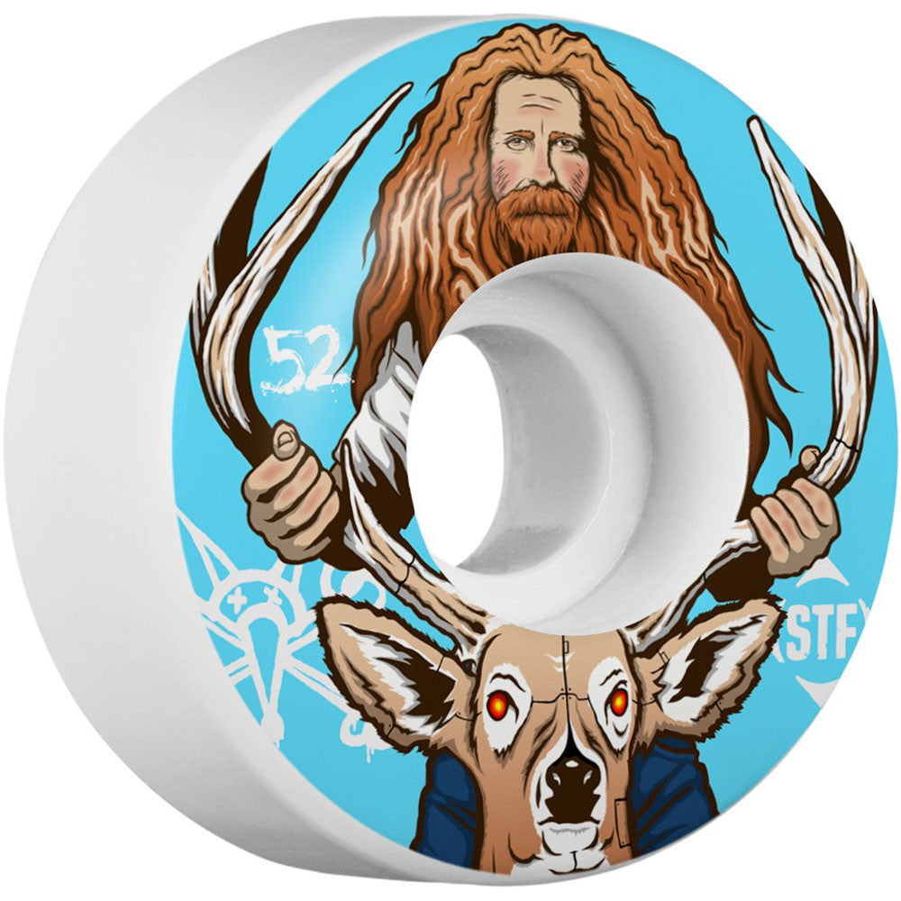 Bones STF Pro Haslam Broncanus Skateboard Wheels - White/Blue - 52mm 83b (Set of 4)