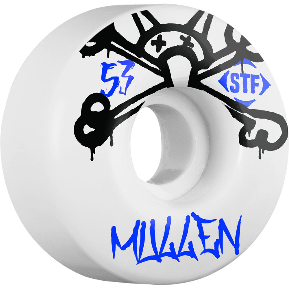 Bones STF Pro Mullen Mad Chavo Skateboard Wheels - White - 53mm 83b (Set of 4)