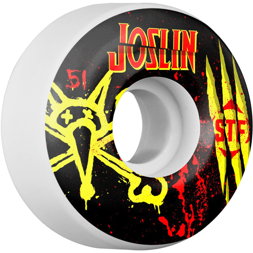 Bones STF Pro Joslin Ex-Men Skateboard Wheels - Black/White - 51mm 83b (Set of 4)