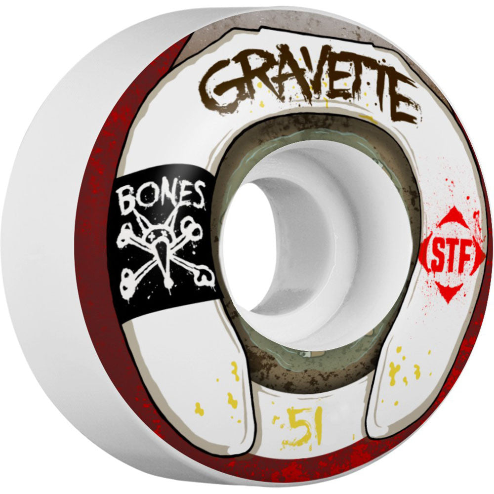 Bones STF Pro Gravette Wasted Life Skateboard Wheels - White - 51mm 83b (Set of 4)