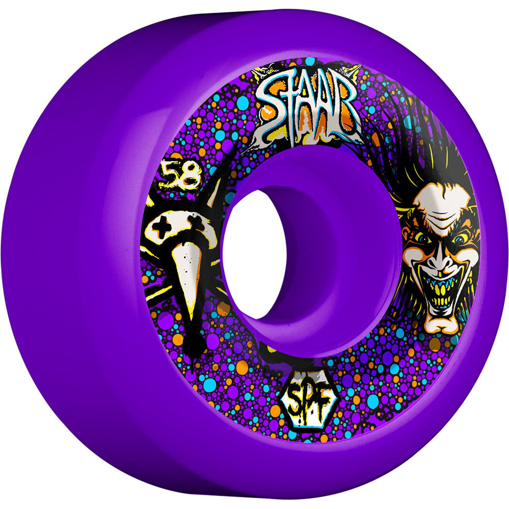 Bones SPF Pro Staab Scientist Skateboard Wheels - Purple - 58mm 84b (Set of 4)