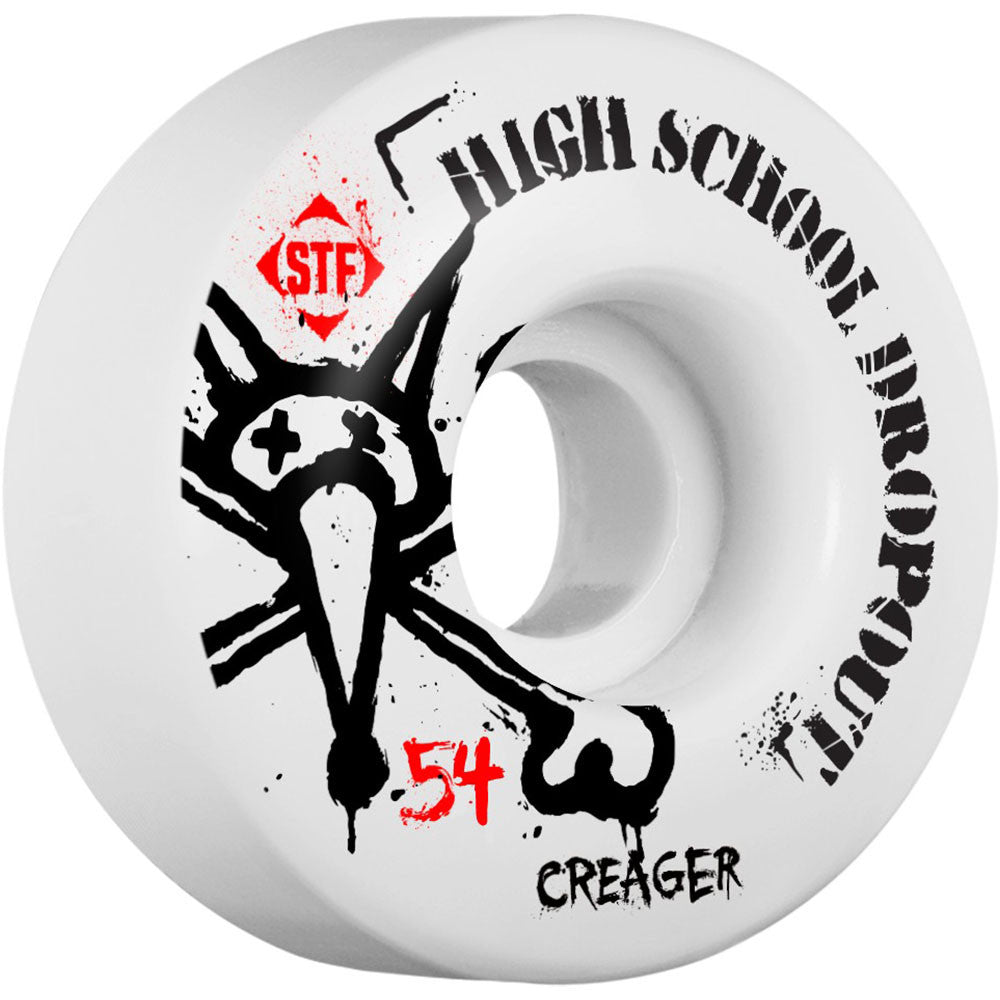 Bones STF Pro Creager Drop Out Skateboard Wheels - White - 54mm 83b (Set of 4)