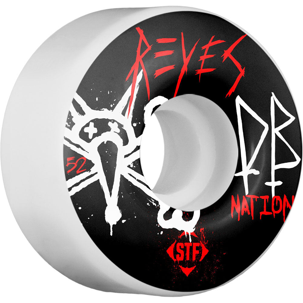 Bones STF Pro Reyes Dry Bones Skateboard Wheels - Black/White - 52mm 83b (Set of 4)