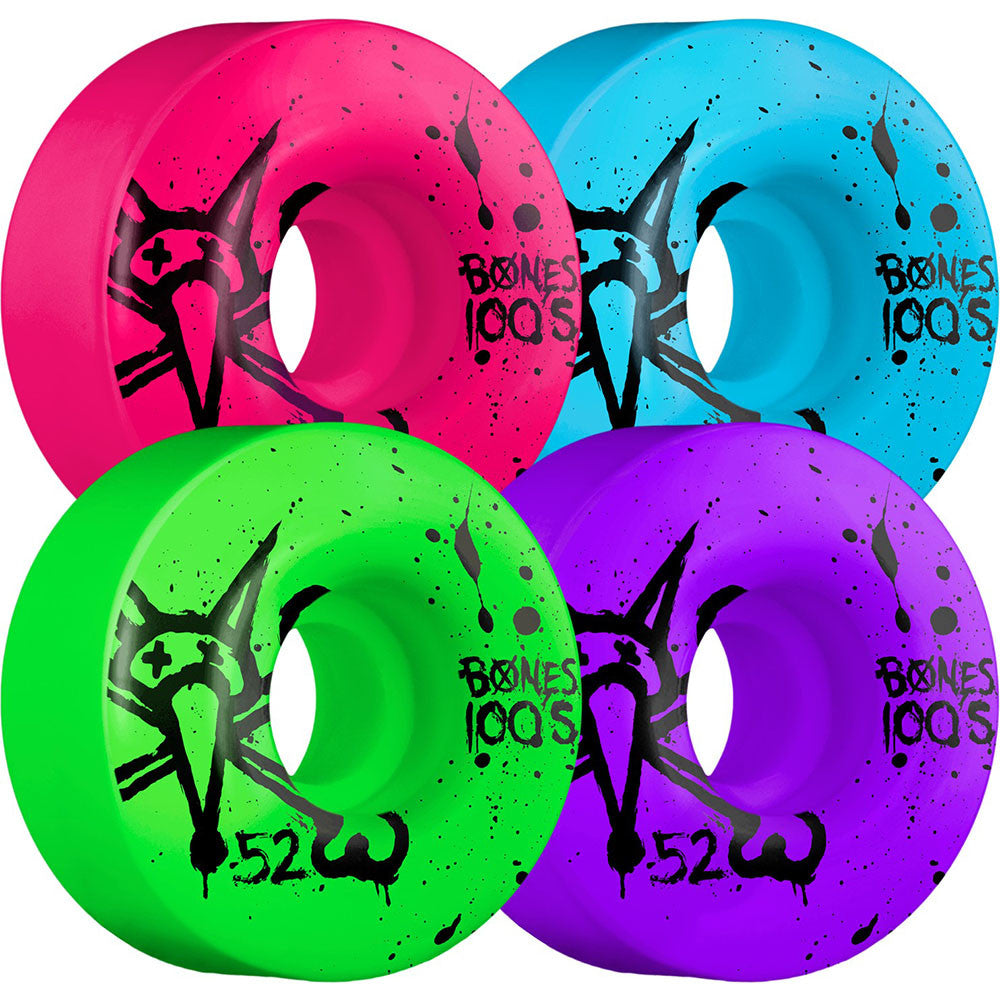 Bones 100's V1 Skateboard Wheels - Assorted - 52mm 100a (Set of 4)