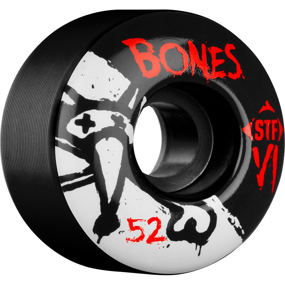 Bones STF V1 Series Skateboard Wheels - Black - 52mm 103a (Set of 4)