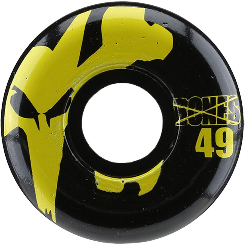 Bones 100's Icon Skateboard Wheels - Black/Yellow - 49mm 100a (Set of 4)