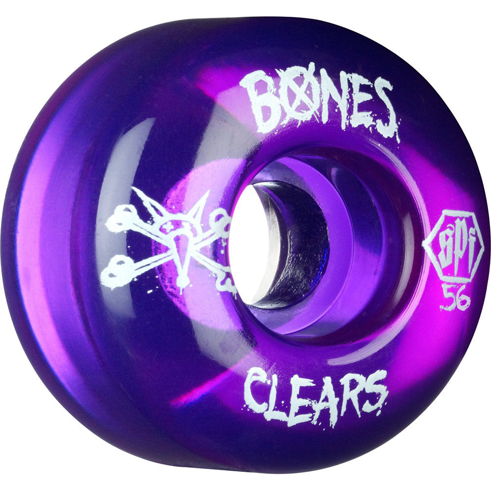 Bones Clear SPF Skateboard Wheels - Purple - 56mm 84b (Set of 4)