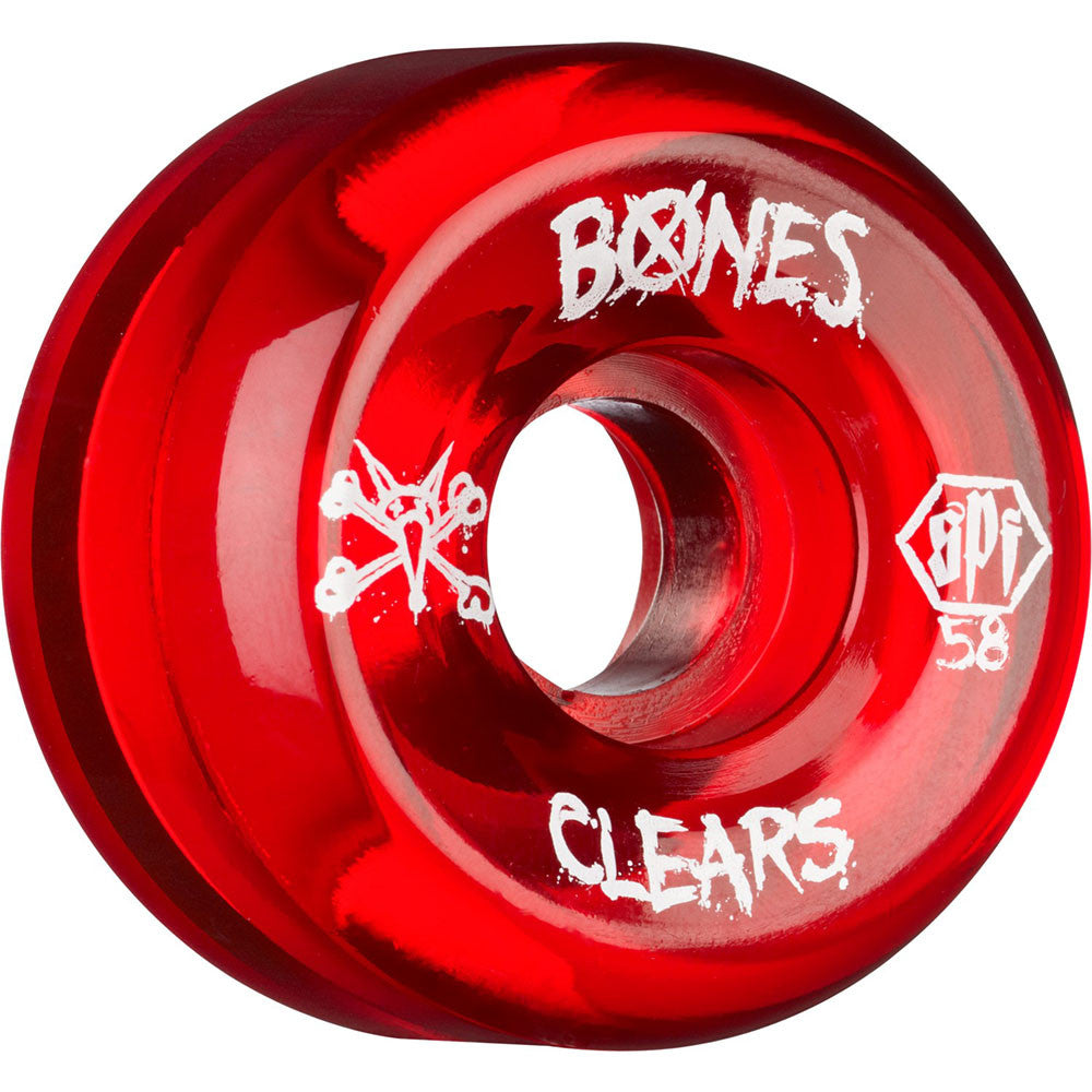 Bones Clear SPF Skateboard Wheels - Red - 58mm 84b (Set of 4)