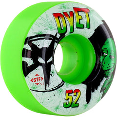 Bones Dyet Rasta STF Skateboard Wheels - Green - 52mm 83b (Set of 4)
