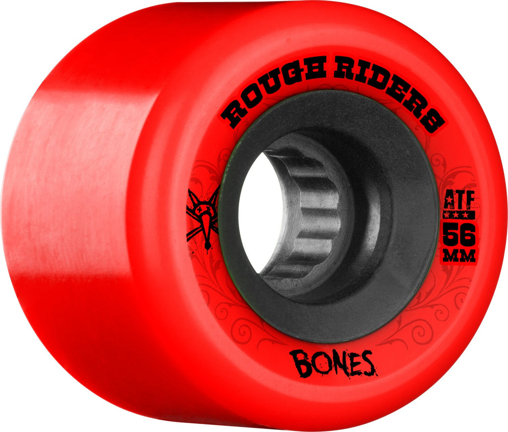 Bones Rough Rider ATF Skateboard Wheels - Red - 56mm 80a (Set of 4)