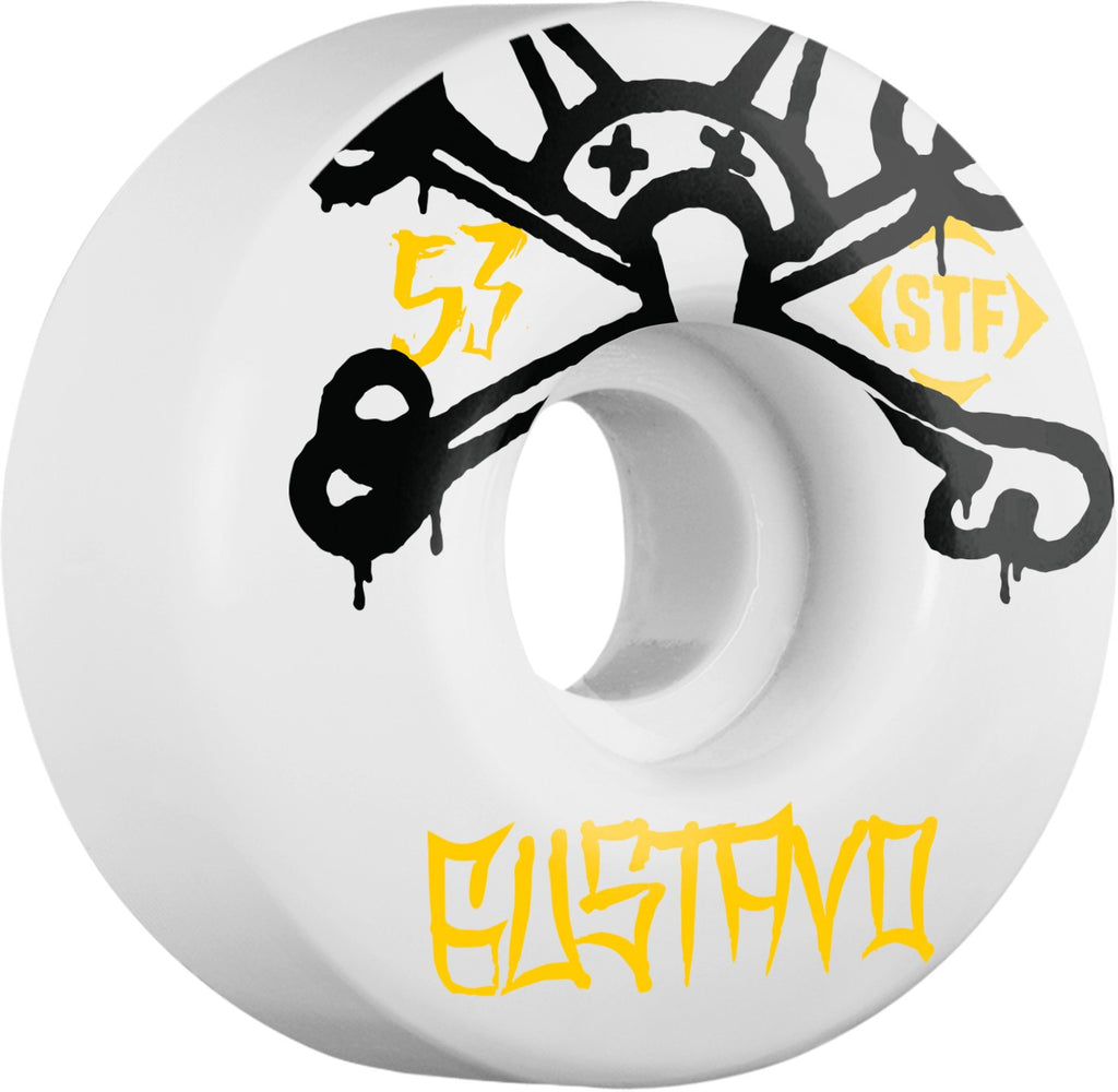 Bones STF Pro Gustavo Mad Chavo Skateboard Wheels - White - 53mm 83b (Set of 4)