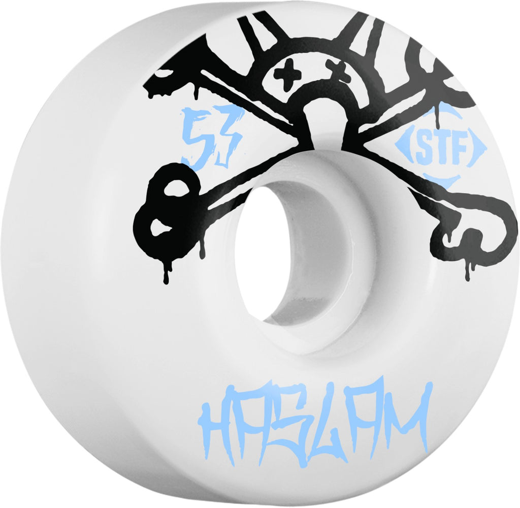 Bones STF Pro Haslam Mad Chavo Skateboard Wheels - White - 53mm 83b (Set of 4)