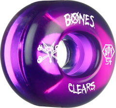 Bones Clear SPF Skateboard Wheels - Purple - 54mm 84b (Set of 4)