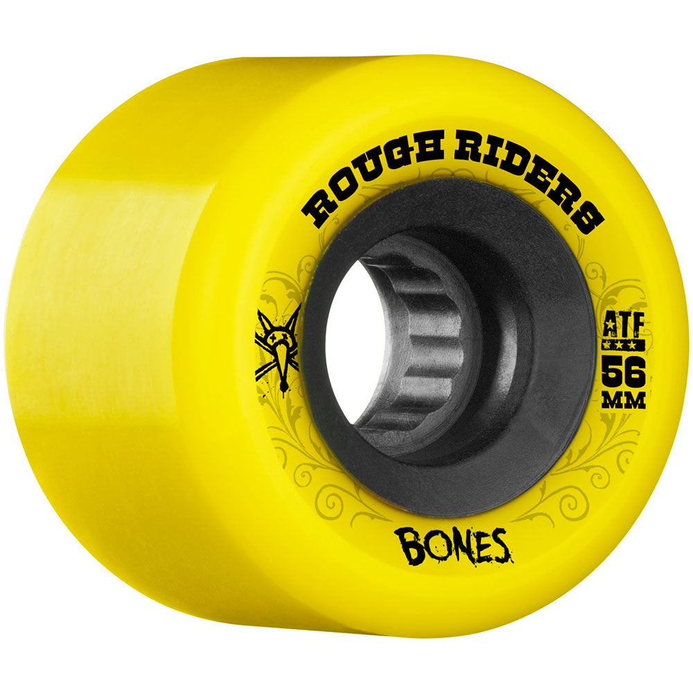Bones Rough Rider ATF Skateboard Wheels - Yellow - 56mm 80a (Set of 4)