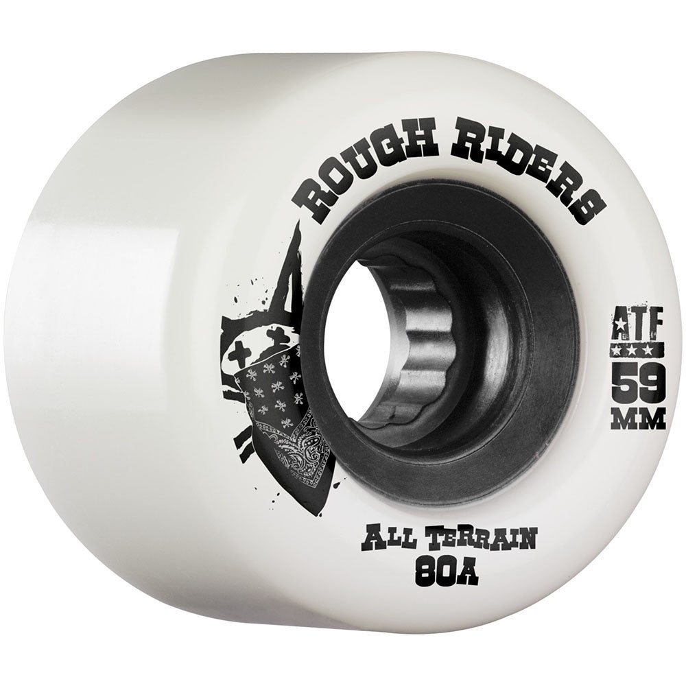 Bones Rough Rider ATF Skateboard Wheels - White - 59mm 80a (Set of 4)