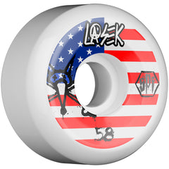 Bones SPF Pro Lasek USA Skateboard Wheels - White - 58mm 84b (Set of 4)