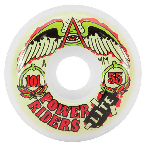 OJ Power Rider Lite Skateboard Wheels 55mm 101a - White (Set of 4)