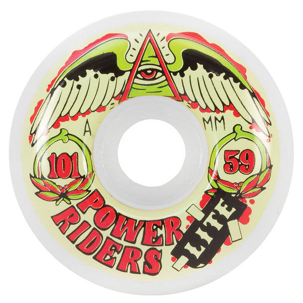 OJ Power Rider Lite Skateboard Wheels 59mm 101a - White (Set of 4)