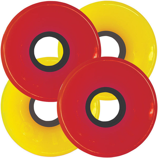 OJ Hot Juice Combo Pack Skateboard Wheels 60mm 78a - Red/Yellow (Set of 4)