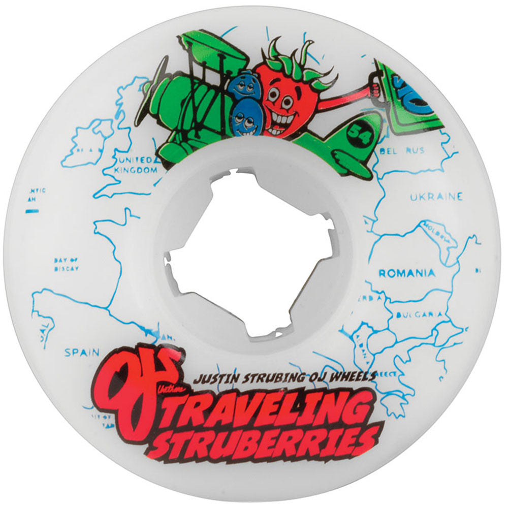 OJ Strubing Traveling Struberries Skateboard Wheels - White - 54mm 101a (Set of 4)