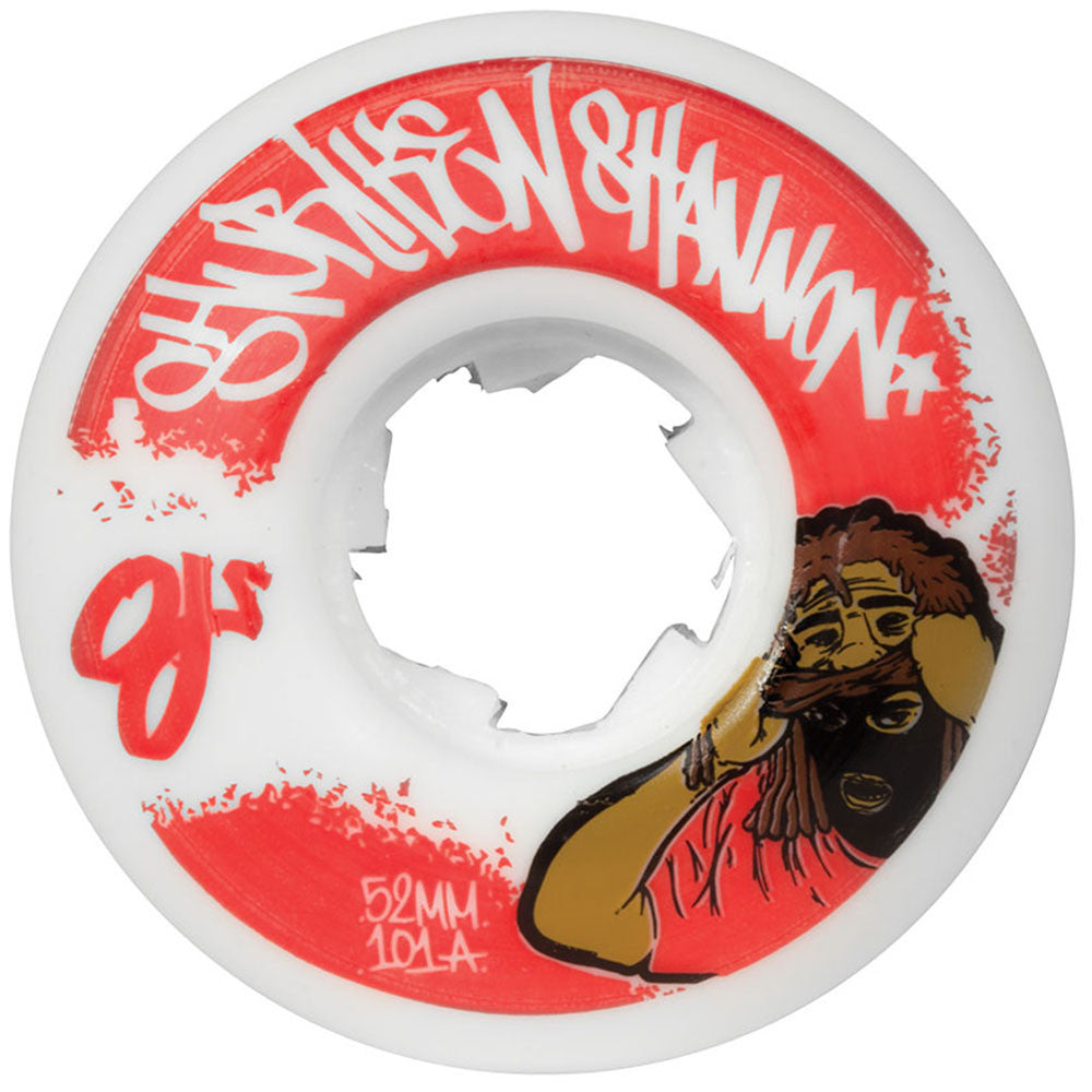 OJ Shuriken Shannon Mask Skateboard Wheels - White - 52mm 101a (Set of 4)