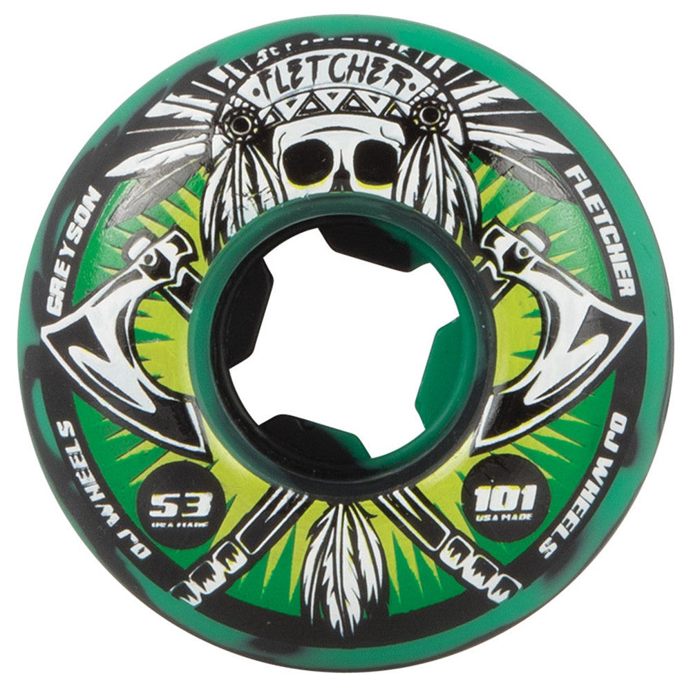 OJ Fletcher Tomahawk Skateboard Wheels - 53mm 101a - Green/Black Swirl (Set of 4)