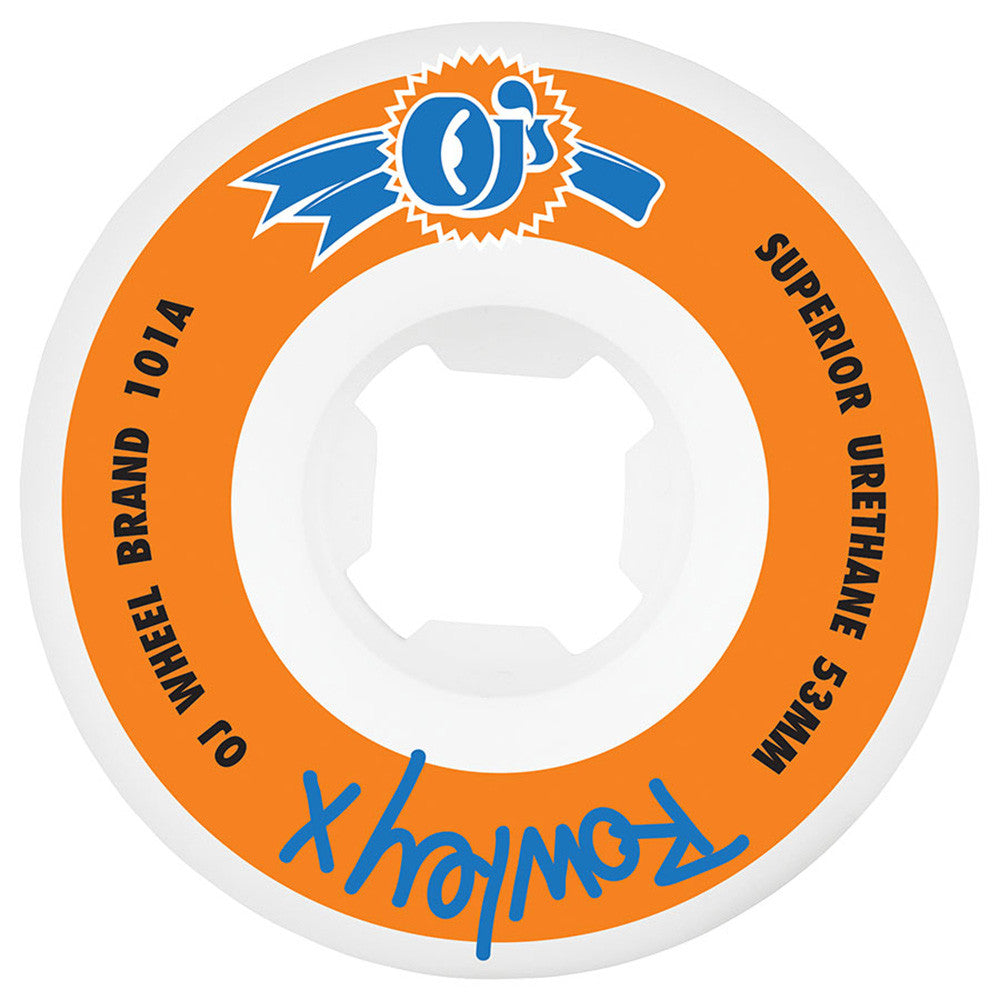 OJ Rowley III EZ Edge Skateboard Wheels - 53mm 101a - Orange/White (Set of 4)