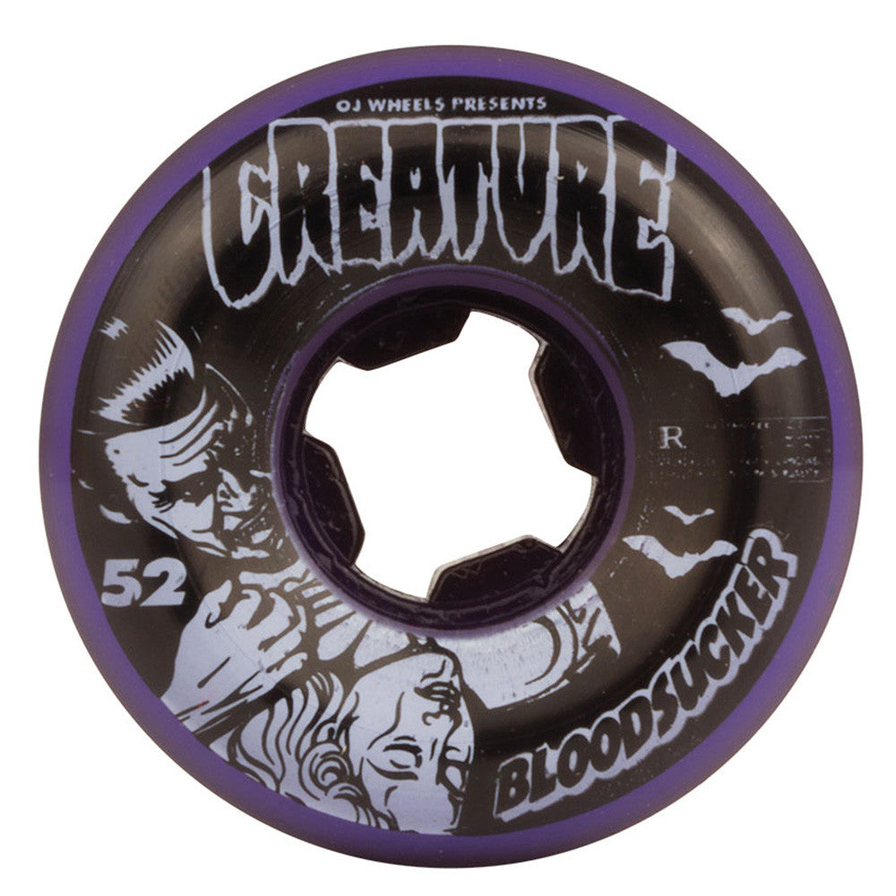 OJ Creature Bloodsucker Fives Skateboard Wheels - 52mm 99a - Purple/Black (Set of 4)