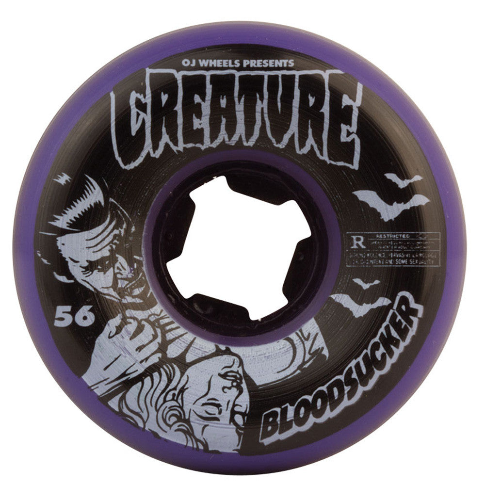 OJ Creature Bloodsucker Fives Skateboard Wheels - 56mm 99a - Purple/Black (Set of 4)