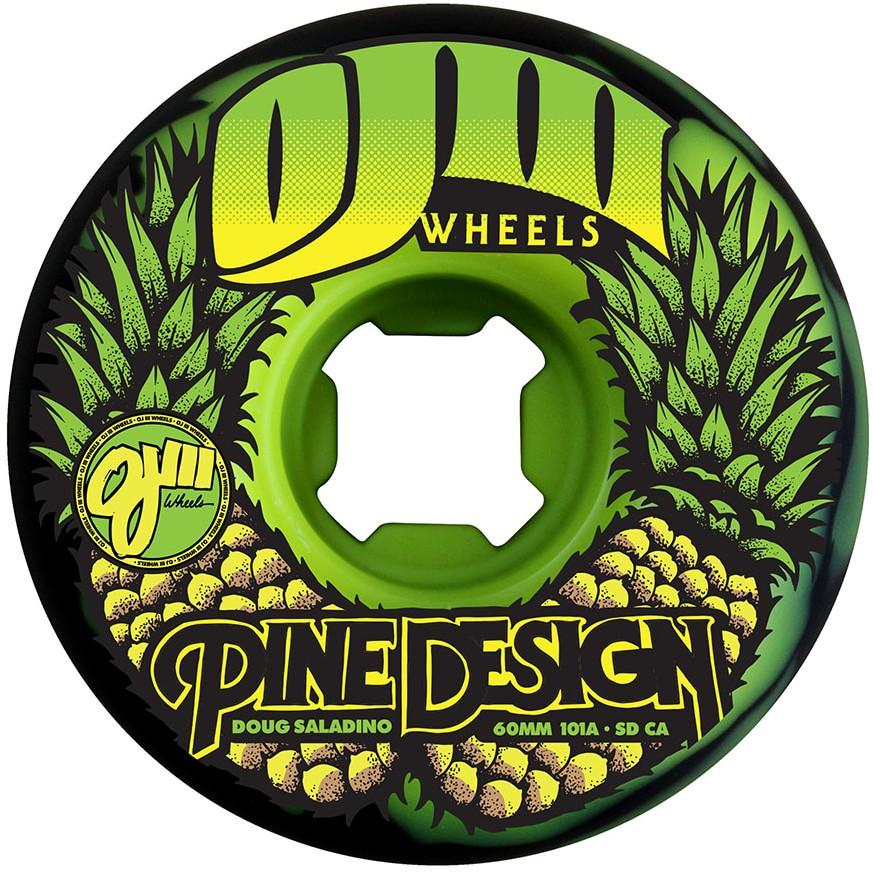 OJ Saladino Pine Swirl Original Skateboard Wheels - 60mm 101a - Black/Green (Set of 4)