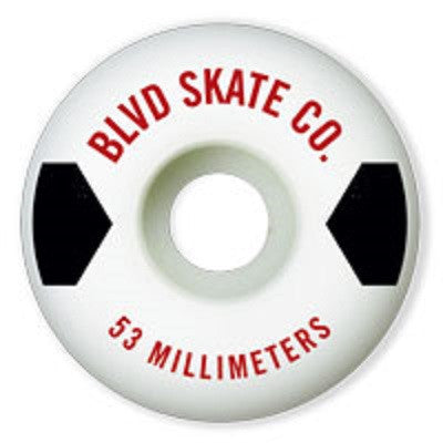 BLVD Text Skateboard Wheels 54mm - White (Set of 4)