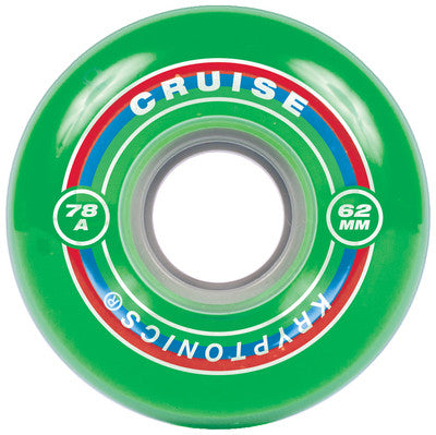 Kryptonics Cruise Skateboard Wheels 62mm 78a - Green (Set of 4)