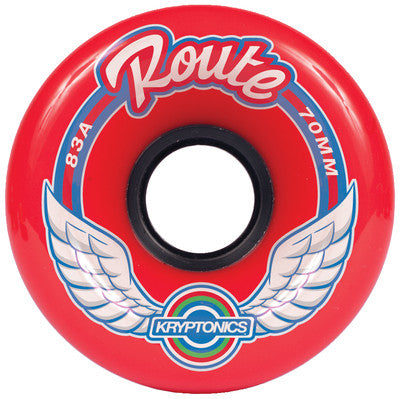 Kryptonics Route Skateboard Wheels 70mm 83a - Red (Set of 4)