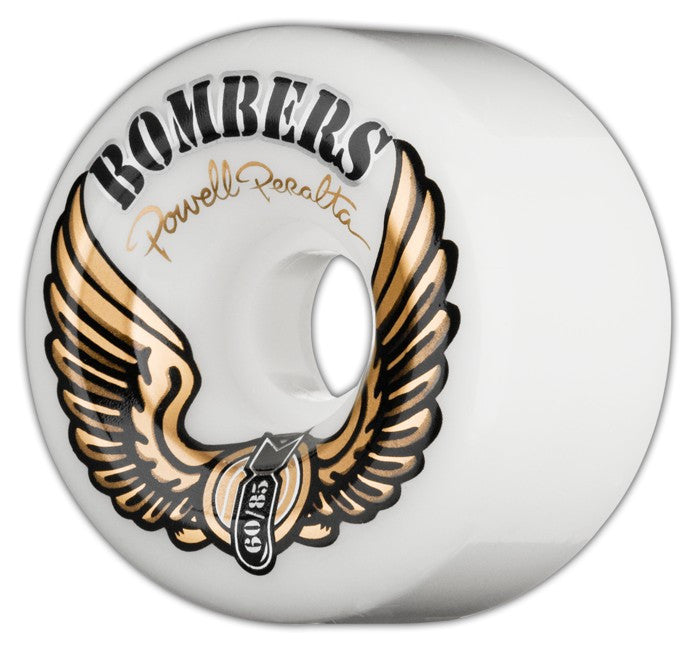 Powell Peralta Bombers Skateboard Wheels 60mm 85a - White (Set of 4)