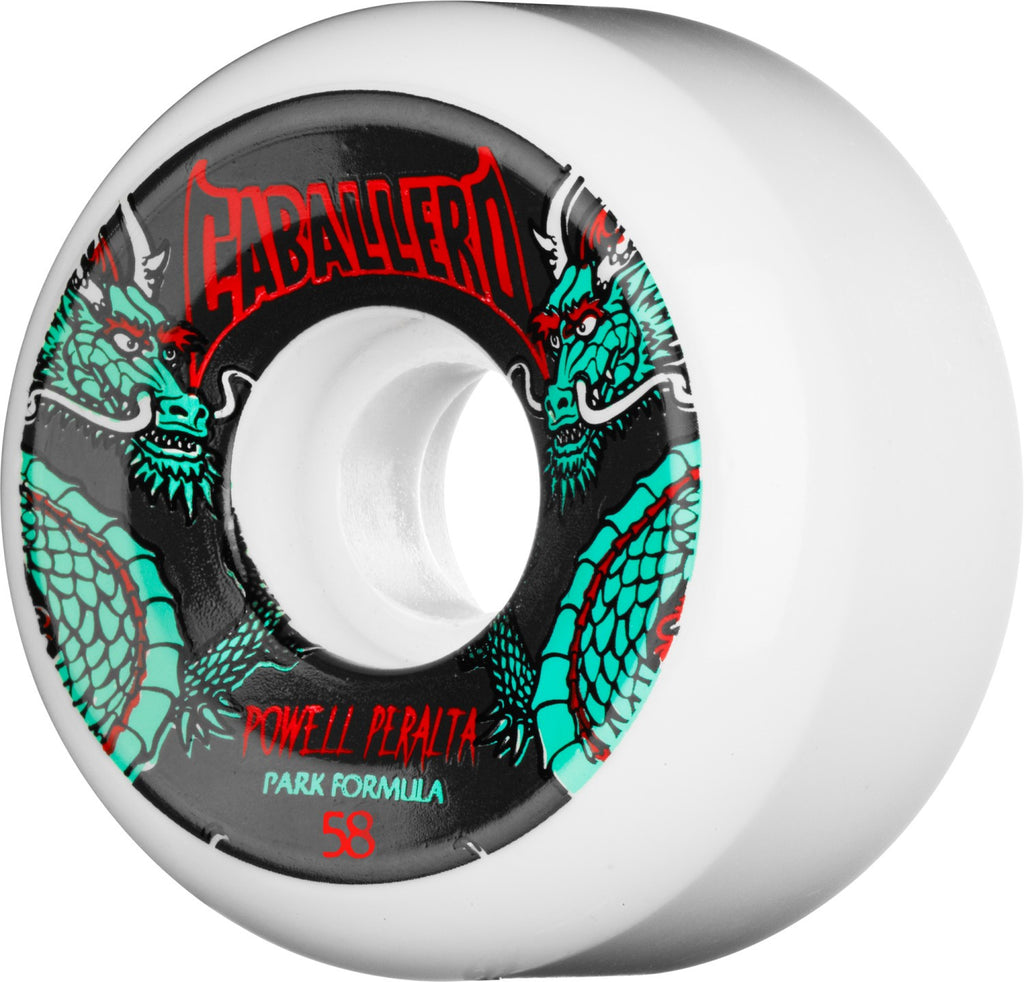 Powell Peralta Chinese Dragon - White - 58mm - Skateboard Wheels (Set of 4)